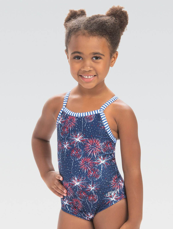 Limited availability, get it while it lasts! Fabric Benefits: Fabric designed with comfort and fit in mind Chlorine resistant Shape and color retention UPF 50+ Protection from the sun  Design Features: 1-piece suit in Fireworks print Great for celebrating USA Modest Cut: Sits comfortably below the hip Easy Pull-On Fit: No fuss, only fun! Fully lined with signature Uglies candy stripe in coordinating color Binding on straps includes signature Uglies candy stripe in coordinating color Fabric: 91% Polyester / 9% Spandex