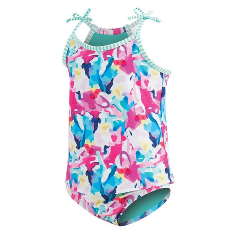 Features Chlorine-resistant fabric will not fade or stretch after long days at the pool Front lined top and fully lined bottom for added comfort feature a fun, complementary striped liner 50+ UV Protection Stay-Put bows and bottom internal drawcord for secure fit Details Fabric: 91% Polyester, 9% Spandex Care: Hand wash, hang dry Sun Protection: UPF 50+ Closure: Pull on Chlorine Resistant: Yes Adjustable: Yes Cup Support: No Bottom Coverage: Full
