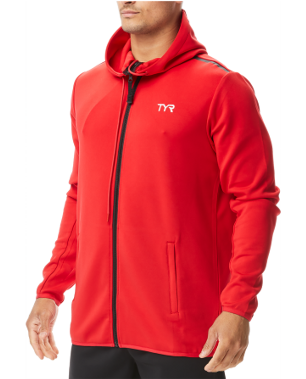 Gear up in the TYR Team Full Zip Hoodie.  With a warm tech knit construction and adjustable hood, the MTFZH2A is designed to provide an added layer of coverage when you need it most. Engineered to include convenient pocket storage and a full length zipper, the TYR Youth Alliance Podium Full Zip Hoodie is an ideal post-swim pullover.  TYR Fabrication: 100% Polyester