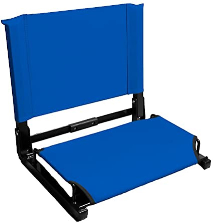 Do you spend a lot of time watching your kids games on uncomfortable, metal bleachers? Well now you can watch the game in comfort with the Sports Unlimited Stadium Chair. Featuring a powder coated steel frame covered with durable, fade-resistant canvas for long lasting use. This stadium seat fits virtually any type of bleacher with it's rubber, non-slip skids and bottom frame hook to secure it. The chair folds easily and can be transported with it's attached tote handle. Don't go to another game without it!  FEATURES: Fade- and mildew-resistant, easy-cleaning canvas cover with black steel frame Fits virtually any type of bleacher - Rubber non-slip skids mounted on the bottom of the frame to prevent slipping and scratching Folds and features an attached handle for easy transport Max User Weight: 350 lbs SPECIFICATIONS: Brand: Sports Unlimited Dimensions: Open 15.5''L x 17''W x 14.5''H, Folded 15.5''L x 17''W x 4''H Weight: 8 lbs.