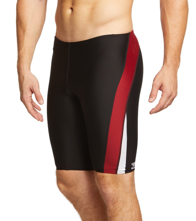 The Speedo Launch Splice Endurance + Jammer gives you a suit that maintains a superior fit after logging countless hours in the pool.  Features Drawstring waist Splicing on thigh. For training or racing Chlorine-resistant Designed to last longer than traditional fabrics Details  Fabric: 50% PBT, 50% Polyester Length: Hit above knee Adjustable: Drawstring waist Chlorine Resistant: Yes Country of Origin: Imported