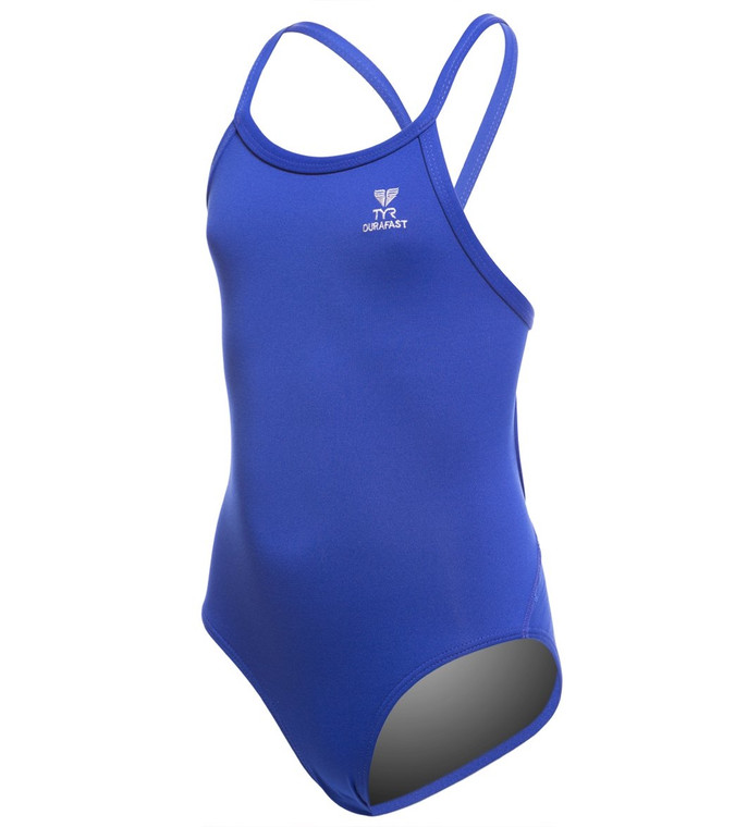 Swim strong with the TYR Girls Durafast Elite Solid Diamondfit One Piece Swimsuit. This is the perfect performance suit for young athletes seeking reliable coverage that won t weigh them down while they swim.  Features Girls one piece swimsuit Medium neckline Sleek/flexible straps: For comfort Keyhole back for flexibility Moderate cut leg Antimicrobial lining for freshness Chlorine-proof and colorfast nature Made with Durafast Elite fabric Sustains 300+ hours of performance Chlorine-proof performance Innovative circular knit construction High denier poly fiber Details Fabric: 94% Polyester, 6% Spandex Care: Hand wash Chlorine Resistant: Yes Back Style: V back Cup Support: No Bottom Coverage: Moderate