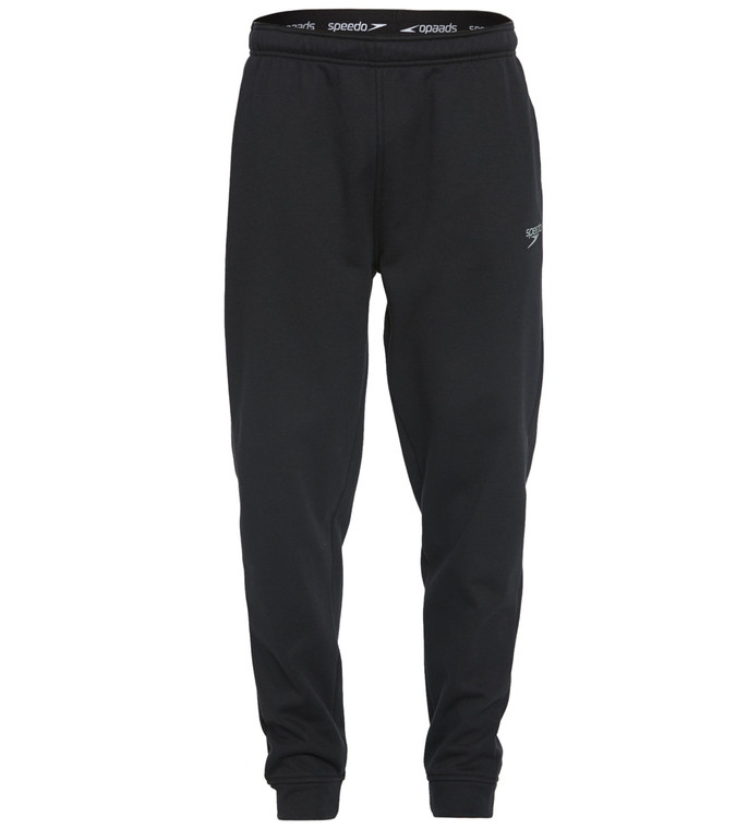Stay cozy before and after practice in the Speedo Men's Team Pant.  Features Men's team pant. Solid. Soft touch fabric. Thermal brushed on the inside. Logo accent. Ankle length. Details Fabric: 76% Polyester, 24% Cotton. Care: Machine washable. Closure: Pull on. Fit: Standard. Length: Ankle length.