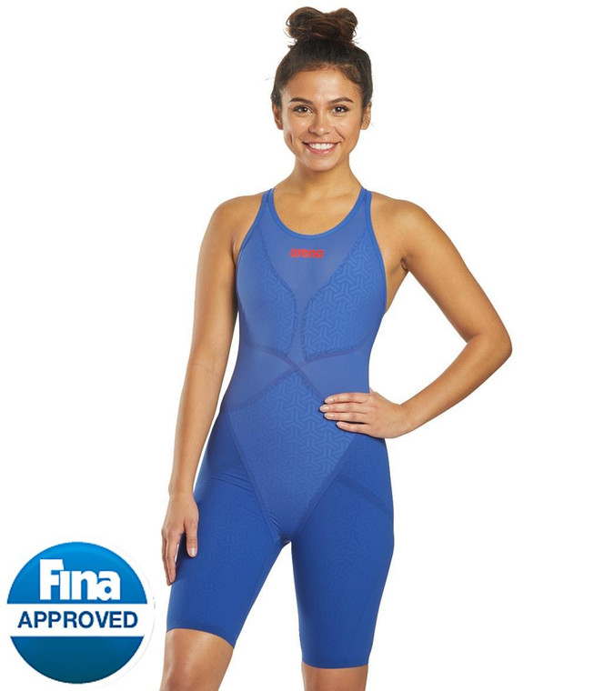 The new Arena Women's Powerskin Carbon Glide Open Back Tech Suit Swimsuit is designed to enhance your sense of speed and seamless motion.  Features  FINA approved Women's kneeskin technical racing suit Ultra-thin Hydroglide turns down the volume on drag and turbulence Carbon Light Cage technology surrounds strategic muscles with a compact carbon fibre grid Unique internal taping instantly activates and interconnects major muscle groups so your body is ready to flow as soon as you hit the water The open back rounds off this tech suit with a close to the water feel Details  Fabric: 65% Polyamide, 34% Elastane, 1% Carbon Fiber Care: Hand wash only Chlorine Resistant: No Back Style: Open back Fit: Ultra tight, compressive fit Adjustable: No Cup Support: None Bottom Coverage: Full Length: Above the knee