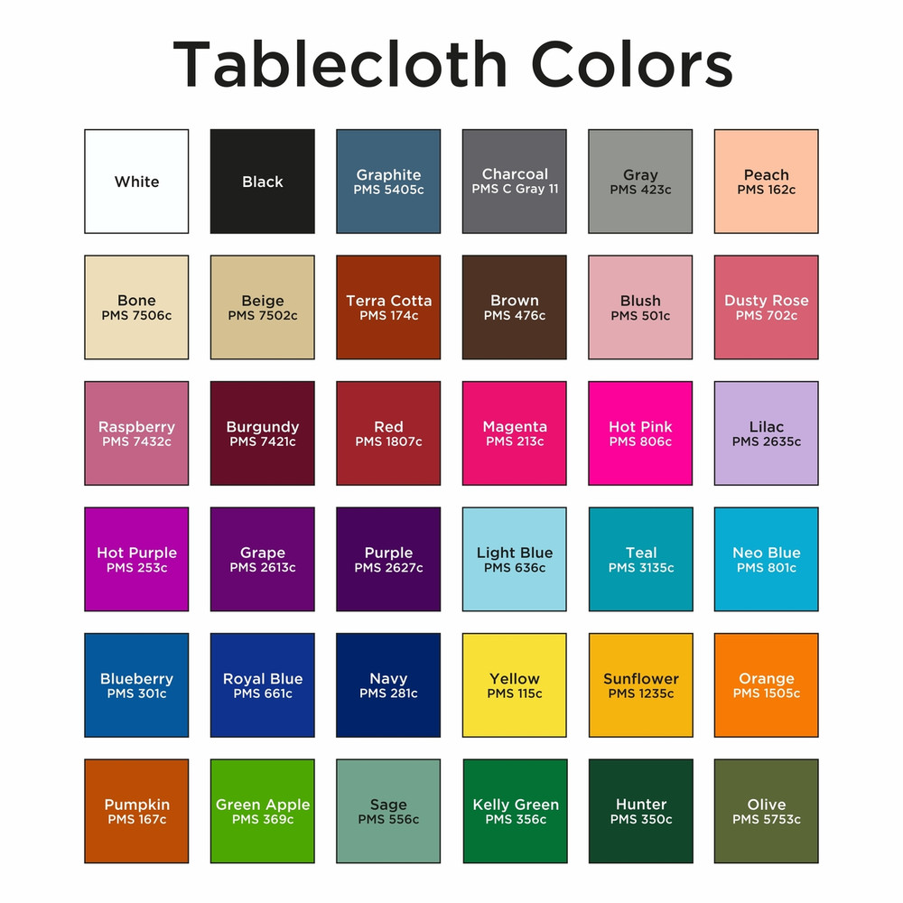 STOCK TABLECLOTH COLORS