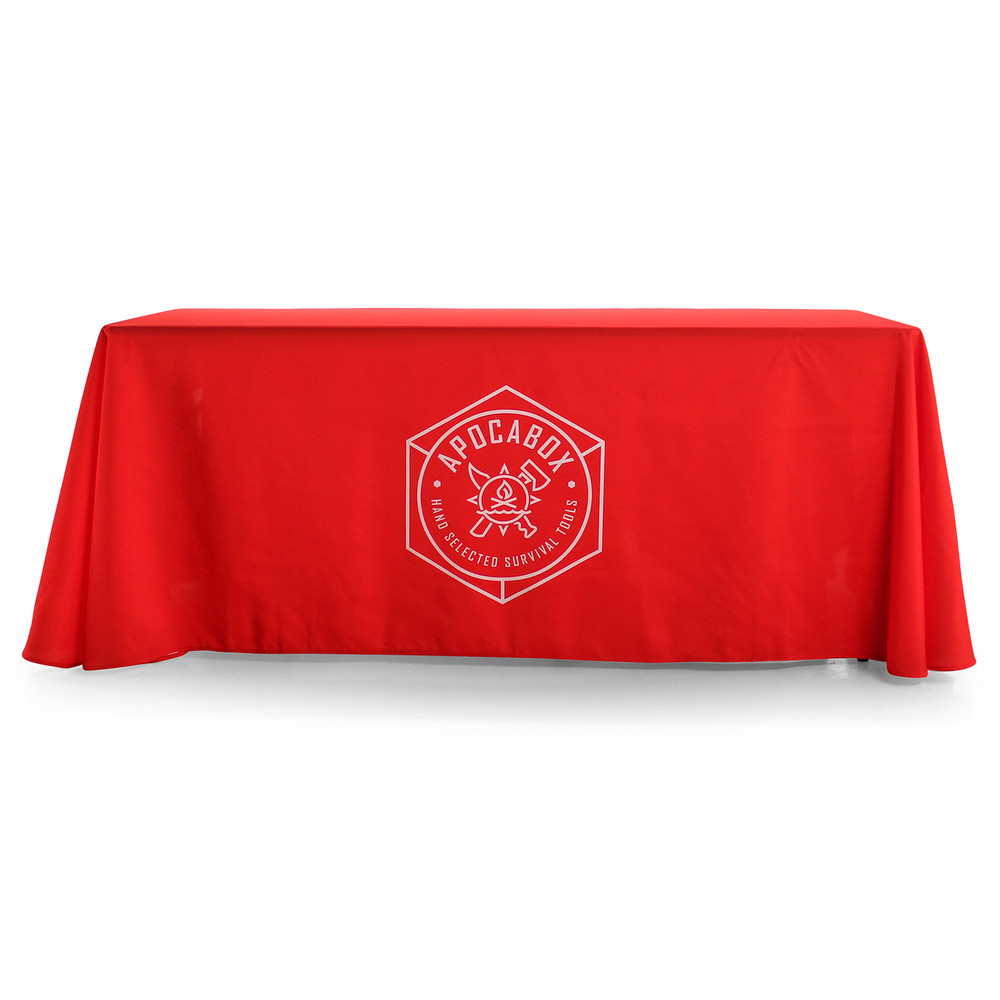 3-Sided Open-Back Custom Printed Logo Tablecloth