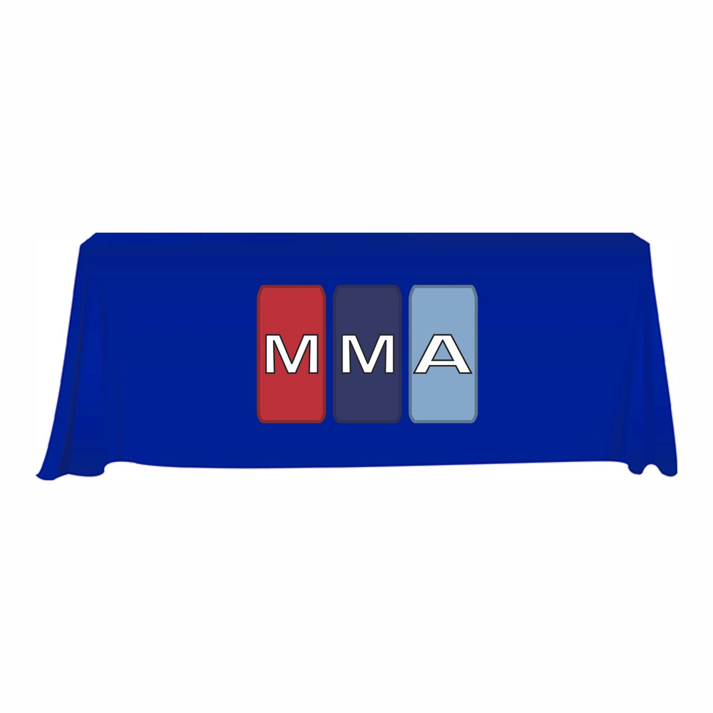 MMA Royal Blue 3 Sided Open-Back Tablecloth