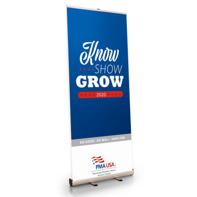 PMA KNOW SHOW GROW Retractable Banner Stand