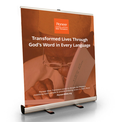 """Transformed Lives Through God's Word in Every Language Tabletop Retractor (33.5""""W x 41""""T)"""