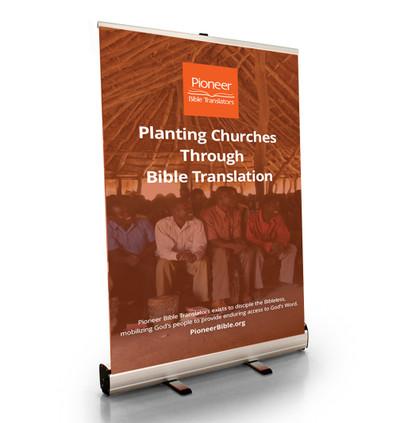 "Planting Churches Through Bible Translation Tabletop Retractor (24""W x 41""T)"