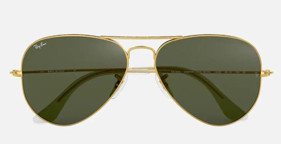Classic Aviator - Gold w/ Green Lenses