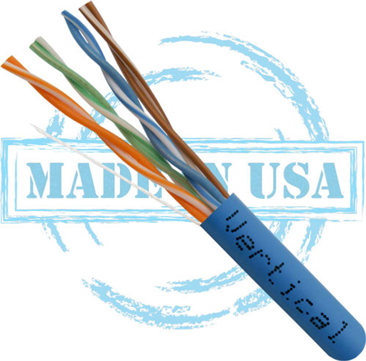 CAT5E, Plenum, MADE IN USA, 24AWG, UTP, 4 Pair, Solid Bare Copper, 350MHz, 1000ft Pull Box, Blue