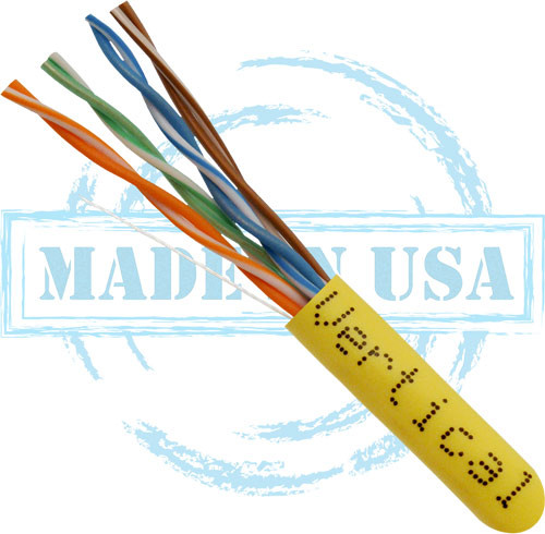 CAT5E, Plenum, MADE IN USA, 24AWG, UTP, 4 Pair, Solid Bare Copper, 350MHz, 1000ft Pull Box, Yellow