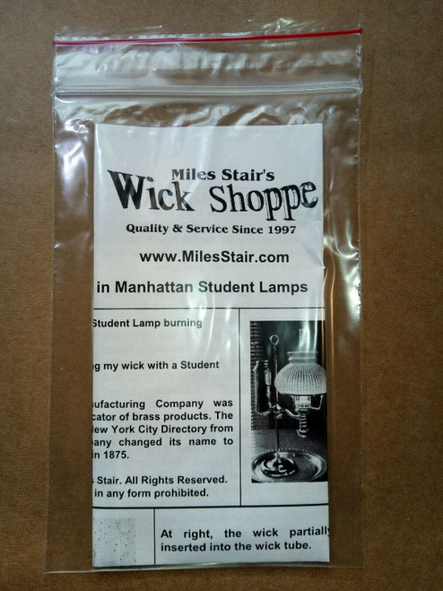 "Wick #0C for Manhattan & Kleeman Student Lamps and others. 1 1/4"" flat X 4.5"""