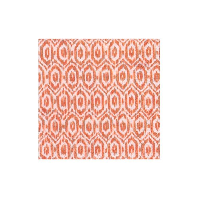 Orange ikat print cocktail napkin