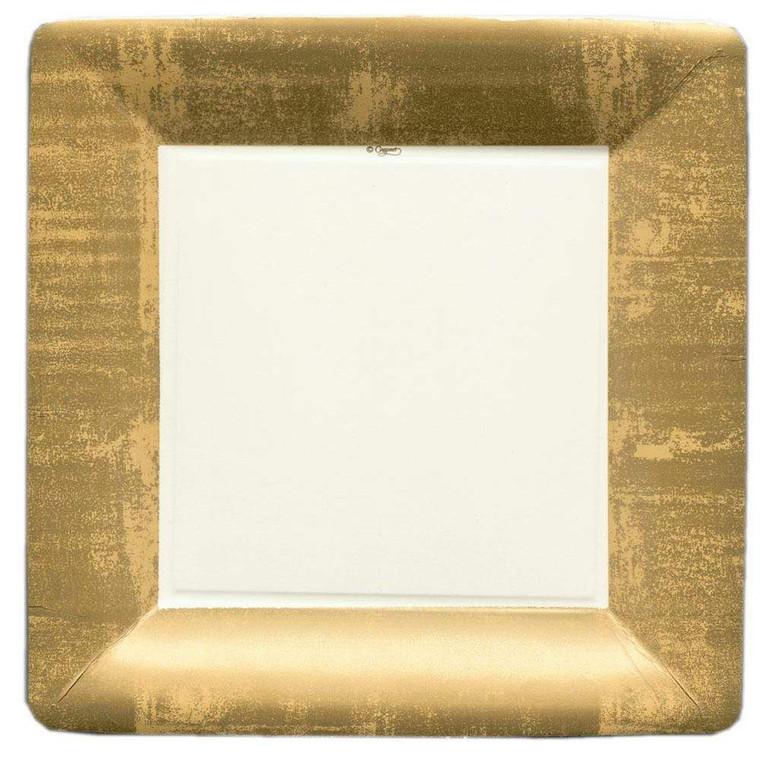 Gold Leaf Square Dinner Plate