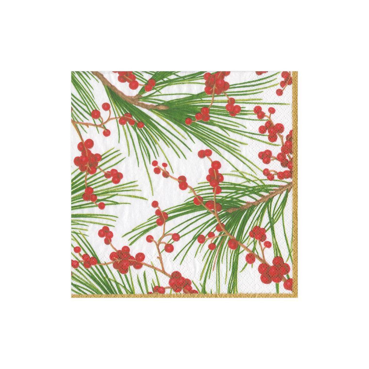 Karen Kluglein's fresh winter botanical, featuring red berries and delicate pine needles, feels festive yet elegant.