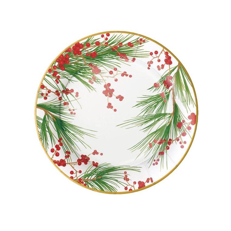 Karen Kluglein's fresh winter botanical, featuring red berries and delicate pine needles, feels festive yet elegant.