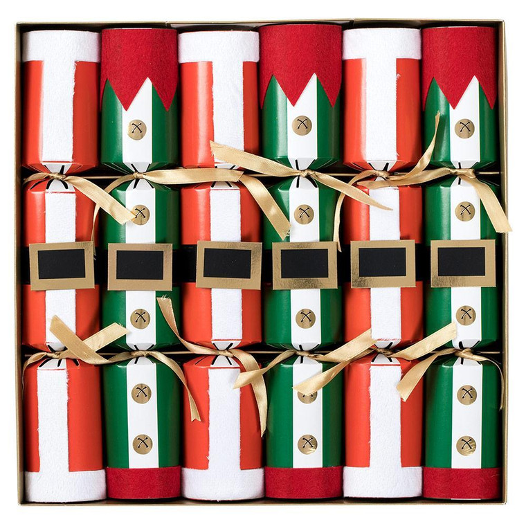 These fun costumes celebrate Santa Claus' classic red, belted atire and classic south pole elf uniforms.