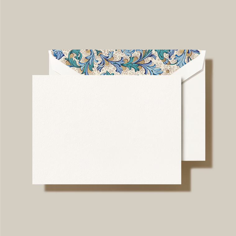 Pearl White Finish Blue Green Florentine Lining Fold over note 10 Notes 10 Envelopes 100% Cotton 3 15/16 x 5 9/16