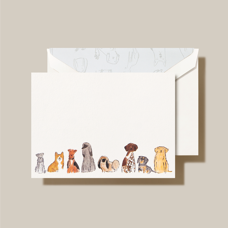 Pearl White Finish Dogs Lining Fold Over Note 10 Notes 10 Envelopes 100% Cotton