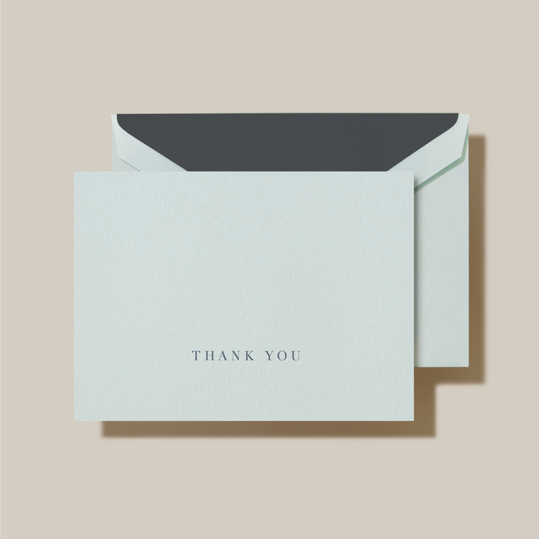 Beach Glass Kid Finish Charcoal Grey Lining Fold Over Note Card 10 Notes 10 Lined Envelopes 100% Cotton 3 15/16 x 5 9/16