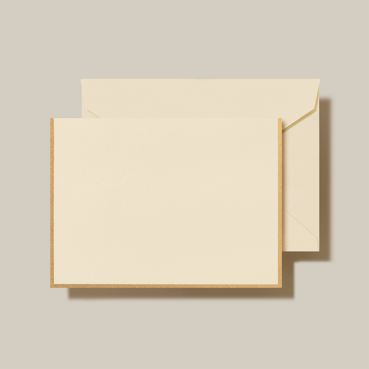 Ecru Finish Fold Over Note Card 10 Notes 10 Envelopes 100% Cotton 3 15/15 x 5 9/16