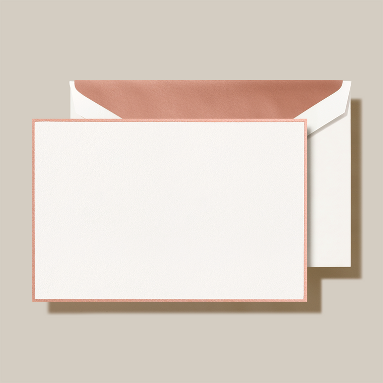 Pearl White Finish Rose Gold Lining Flat Card 10 Cards 10 Envelopes 100% Cotton 4 1/4 x 6 3/8