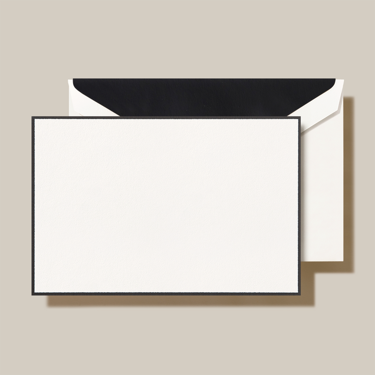 Pearl White Finish Black Lining Flat Card 10 Cards 10 Envelopes 100% Cotton 4.25 x 6.37