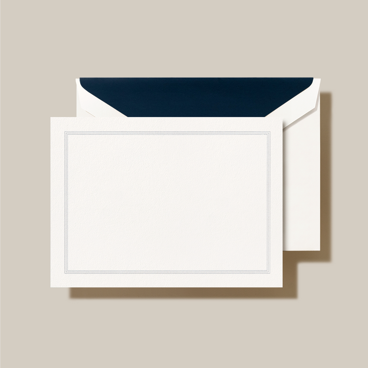 Pearl White Finish Navy Lining Fold Over Note Card 10 Notes 10 Envelopes 100% Cotton 3 15/16 x 5 9/16