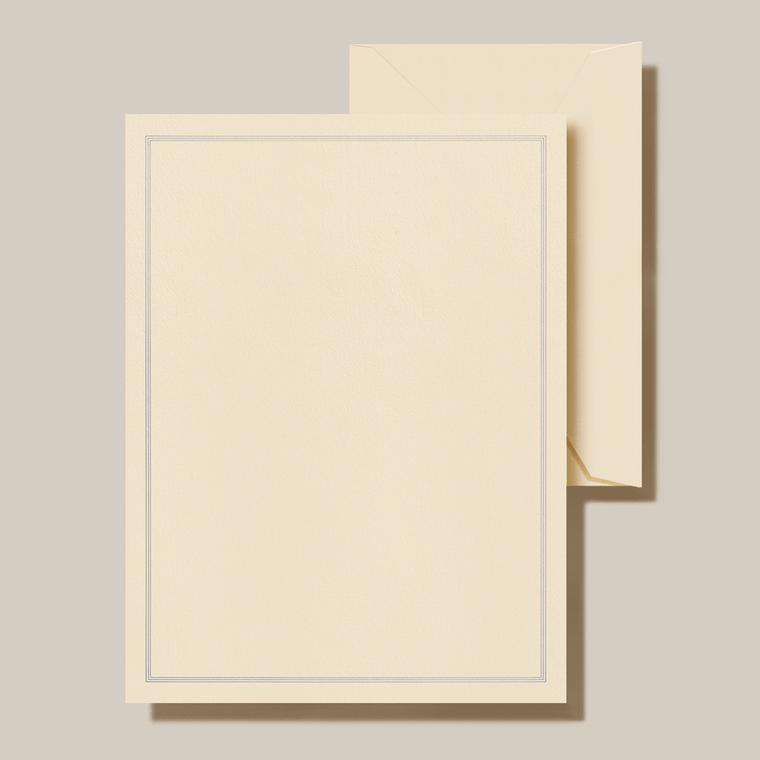 Ecru Finish Regent Blue Lining Half Sheet 20 Sheets 20 Envelopes 100% Cotton 6.37 x 8.5