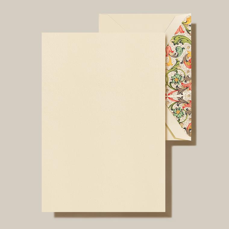 Ecru Finish Red Florentine Lining 20 Sheets 20 Envelopes 100% Cotton 5.31 x 7.62