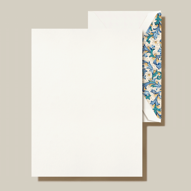 Pearl White Finish Blue Green Florentine Lining 20 Sheets 20 Envelopes 100% Cotton 6.37 x 8.5