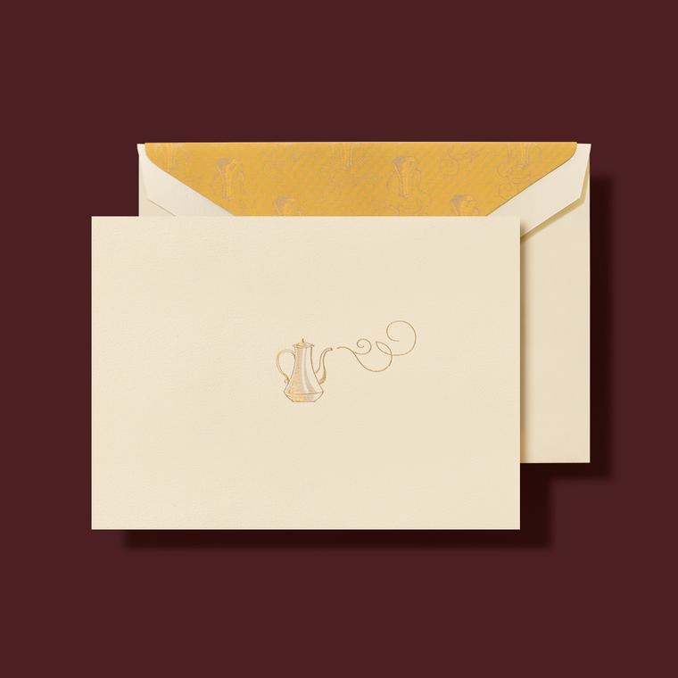 "Ecru Finish Gold Kettle Lining Folded Note Card 10 Notes 10 Envelopes 3.81 x 5.18"""