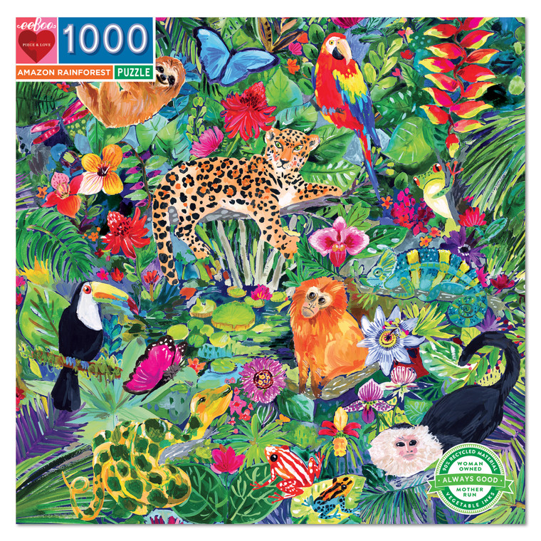 Amazon Rainforest features the plants and animals of a critically fragile habitat. Exquisitely painted by artist Jennifer Orkin Lewis, this animal puzzle rewards careful looking and, we hope, will inspire deep respect for this essential and endangered part of our planet.