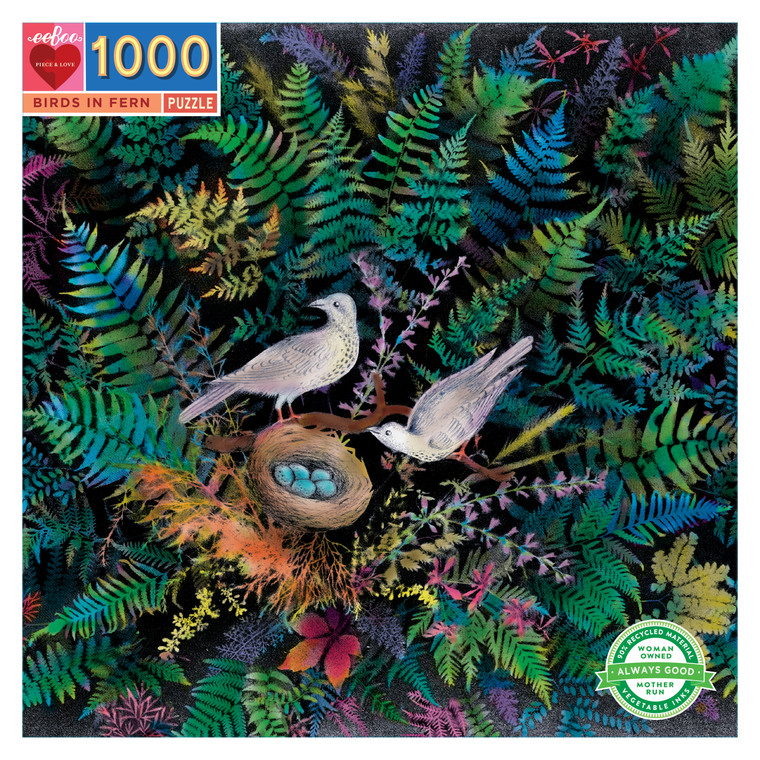 Puzzle your way through eeBoo's Birds in Fern 1000 Piece Puzzle, inspired by a vintage drawing. Jigsaw puzzles are a great activity for the whole family to enjoy. This beautiful fern garden featuring a family of birds will transport any family of puzzlers into focused calm.