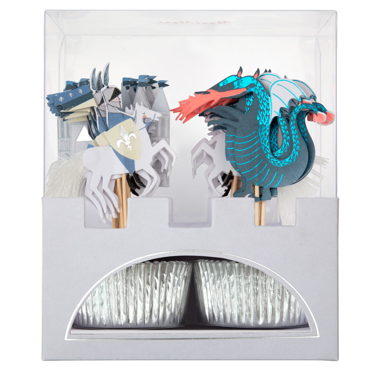 Themed toppers with silver foil cupcake cases Pack of 24 in 4 designs