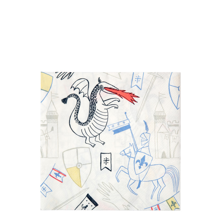 Why have plain, boring napkins when you can have these fantastic ones depicting a dashing knight and a fiery dragon? They'll look amazing on the party table.