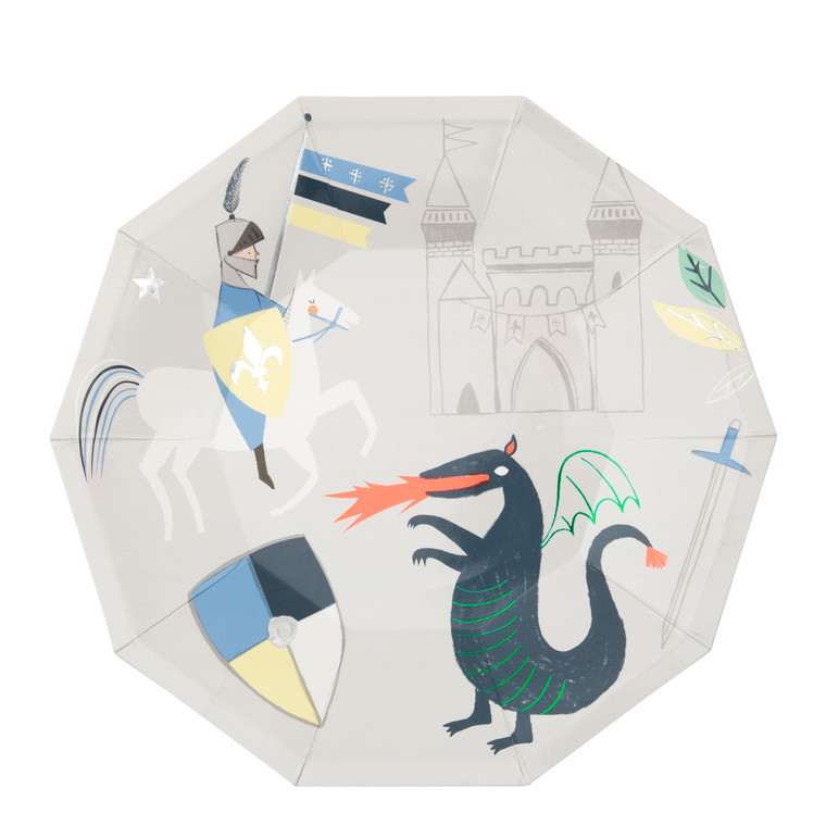 These plates, with their stunning illustrations of knights, dragons and castles, will look absolutely brilliant on the party table.
