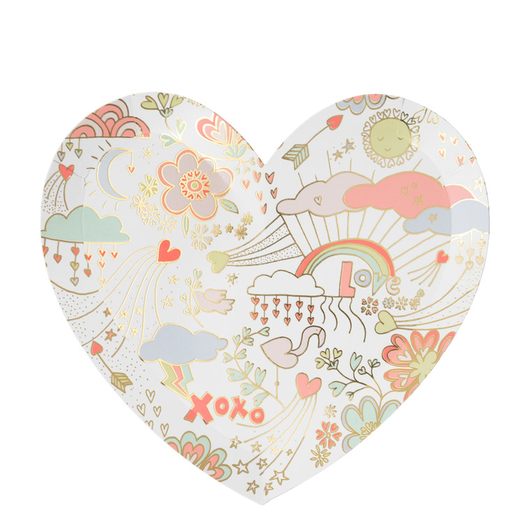 These charming heart-shaped plates, with lots of hearts, clouds, flowers and rainbows, will look wonderful at a special Valentine's Day meal.