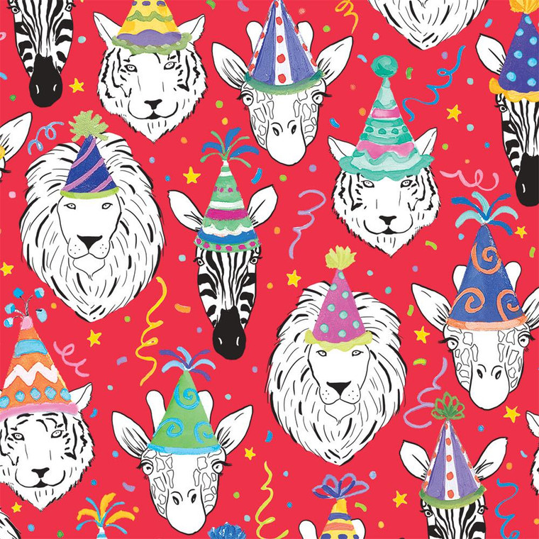 """Safari Birthday Gift Wrapping Paper in Red - 30"""" x 5' Roll"""