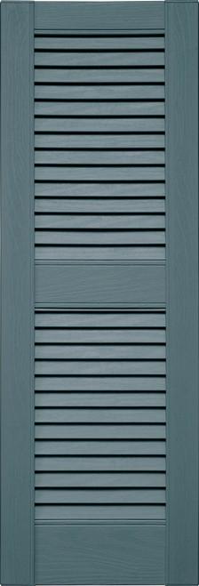 Custom Louvered (L2) Straight Top, Center Mullion (004) Wedgewood Blue