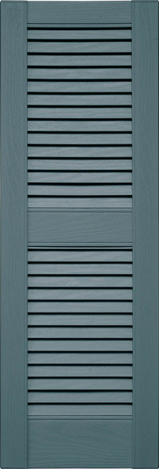 Custom Louvered (L2) Straight Top, Center Mullion (004) Wedgewood Blue