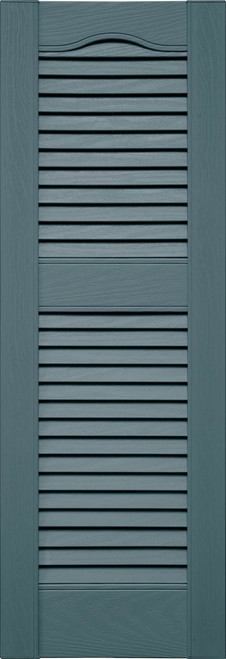 Custom Louver (L3) Cathedral Top Vinyl Shutters, Offset Mullion (Pair)