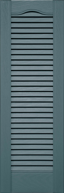 Custom Louver (L5) Cathedral Top Vinyl Shutters, All Louver (Pair)