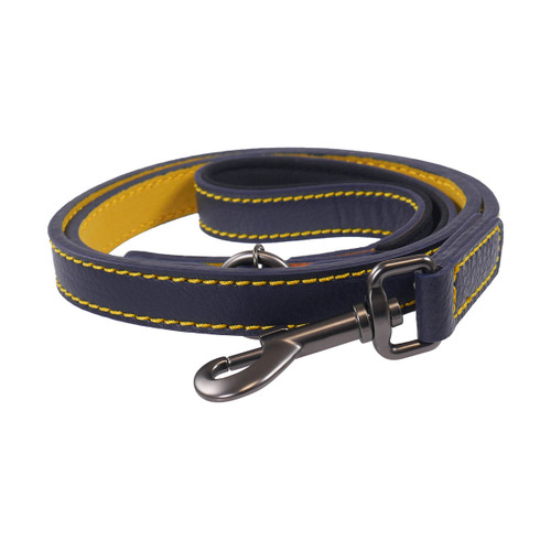 Joules Leather Dog Lead - Blue