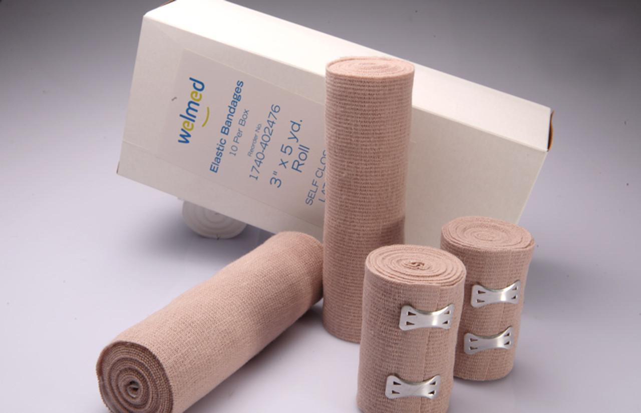 4 Inch Ultra-WeavePlus+ Elastic Bandages, 210 Inch Stretched, Self Closure