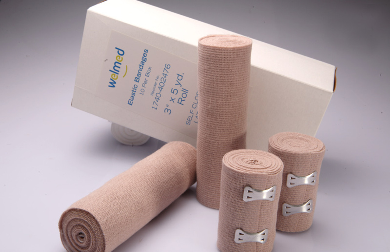 3 Inch Tan Elastic Bandages, 5 Yards Stretched, Clip Closure