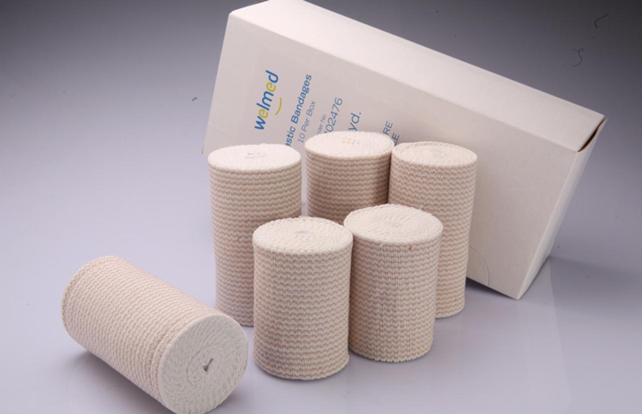 4 Inch Premium Weave Elastic Bandages, 5 Yards Stretched, Self Closure