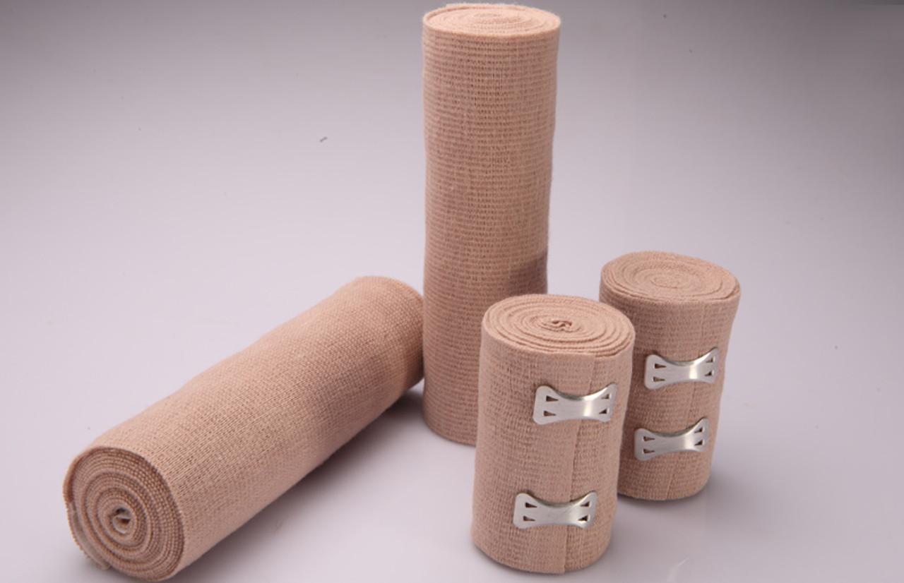 6 Inch Tan Elastic Bandage, Latex Free, 5 Yards Stretched, Self Closure